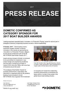 Dometic Confirmed as Category Sponsor  for 2017 Boat Builder Awards