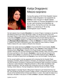 Bio of Katija Dragojevic, Mezzo-soprano, Sesto in La Clemenza di Tito, Drottningholms Slottsteater 2013