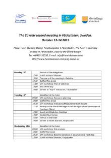 Detaljerad program 12-14 oktober 2015