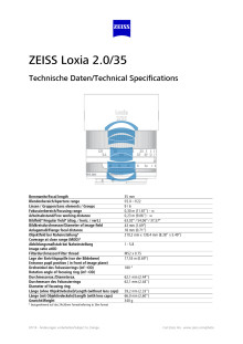 Zeiss Loxia 35mm datablad