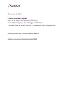 10.12.2014 - Utstedelse av sertifikatlån