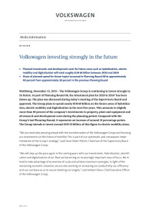 Volkswagen investing strongly in the future