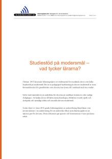 Enkät om Studiestöd på modersmål