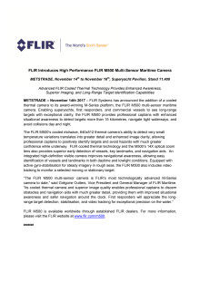 FLIR: METSTRADE Press Kit - Press Release #1