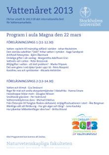 """Program """"världsvattendagen Aula Magna 22 mars"""""""
