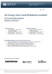 2E Group delårsrapport jan-jun 2012