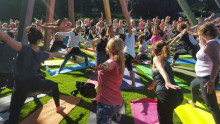 150 personer slöt upp för yoga i Slottskogen