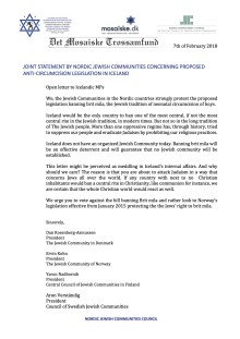 JOINT STATEMENT BY NORDIC JEWISH COMMUNITIES CONCERNING PROPOSED ANTI-CIRCUMCISION LEGISLATION IN ICELAND
