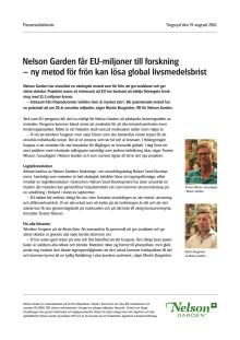 Nelson Garden får EU-miljoner till forskning