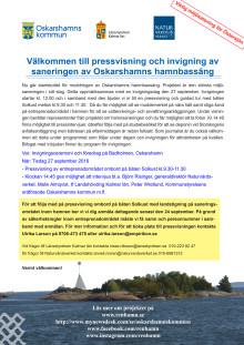 Pressinbjudan invigning 27 september,  sanering  Oskarshamns hamnbassäng