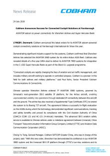 Cobham Announces Success for Connected Cockpit Solutions at Farnborough