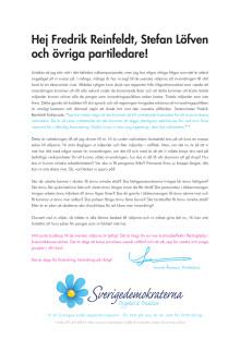 Annonskampanj i tidningarna: Öppet brev från Jimmie Åkesson
