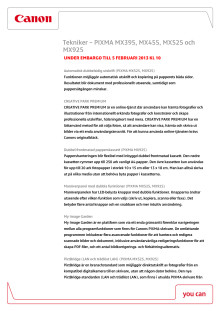 Canon Teknisk förklaring PIXMA MX395, 455, 525, 925