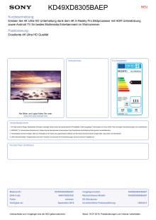 Datenblatt BRAVIA KD-49XD8305BAEP von Sony