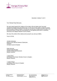 SKR:s brev till den koptiske påven Shenouda