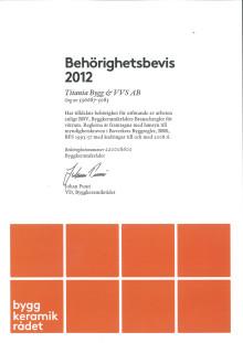 Titanias behörighetsbevis för Byggkeramikrådet för 2012
