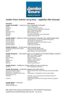 Jambo Tours nyheter 2014