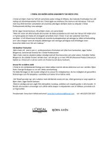 L'Oréal x Björn Axén pressmeddelande