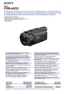 Datenblatt FDR-AX53 von Sony