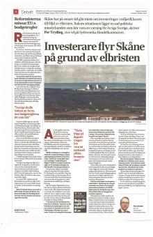 Investerare flyr Skåne på grund av elbristen