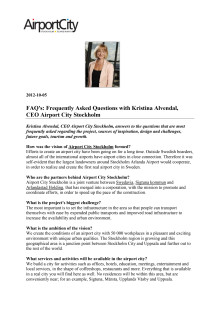 FAQs Kristina Alvendal, CEO Airport City Stockholm_English version