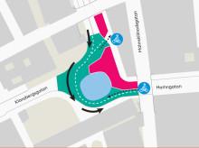 Karta enkelriktning av Sergelrondellen