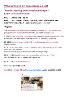 PROGRAM: Seminarium om gamla sädesslag och klimatförändringar