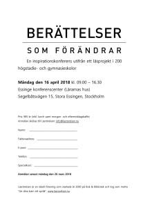 Program konferens, BERÄTTELSER SOM FÖRÄNDRAR 2018-04-16