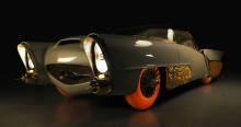 Entisöidyn 1950-luvun itse ajavan Golden Sahara II -konseptiauton maailman ensiesittely Goodyear Tiresin kanssa