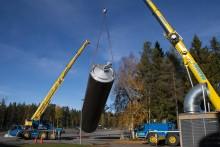 Första nya silo på plats vid Umeå mejeri