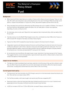 RAC public policy sheet - Fuel