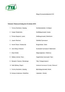 Delatagarlista på tävlande - kvaltävling i Östersund