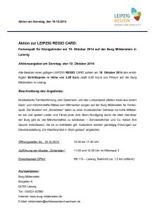 Aktionsangebot Burg Mildenstein 19. Oktober 2014
