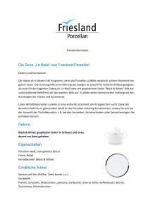 """Presseinformation: Die Serie """"La Belle"""" von Friesland Porzellan - Dezent und harmonisch"""