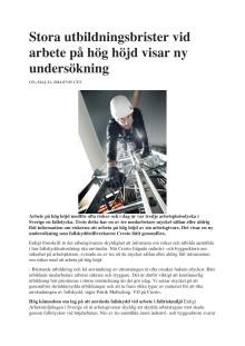 Cresto undersöker kompetensnivån vid höghöjdsarbeten (2014)