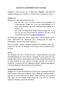 Kallelse till årsstämma i Dialect AB (publ) den 16 maj 2014