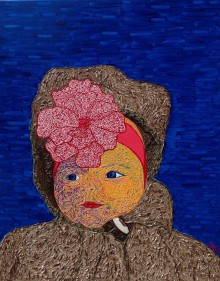 Janneke. An expressionist portrait of his granddaughter. Painting in Mas.s style.