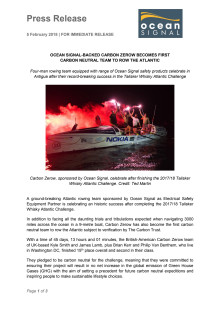 Ocean Signal-Backed Carbon Zerow Becomes First  Carbon Neutral Team to Row the Atlantic