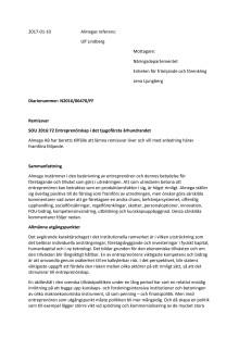 Almegas remissvar om entreprenörskapsutredningen