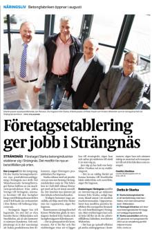 """""""Företagsetablering ger jobb i Strängnäs"""", E-kuriren, april 2014"""