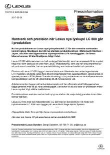 Hantverk och precision när Lexus nya lyxkupé LC 500 går i produktion