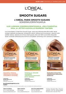 L'Oréal Paris Smooth Sugars  -sokerikuorintasarja kasvoille ja huulille
