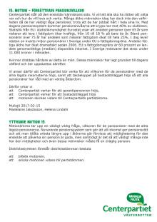 Motion 15 om förbättrade pensionsvillkor