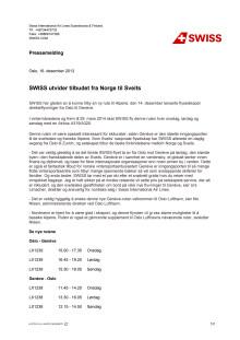 Pressemelding SWISS utvider tilbudet fra Oslo til Sveits