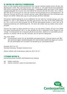 Motion 16 om en jämställd premiepension