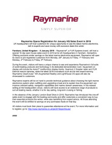 Raymarine Opens Registration for January HQ Sales Event in 2019