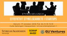 """Inbjudan till styrelselunch på tema """"Effektivt styrelsearbete i startups samt kapitalanskaffning"""""""