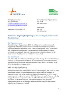 Höghastighetsjärnvägens finansiering och kommersiella förutsättningar