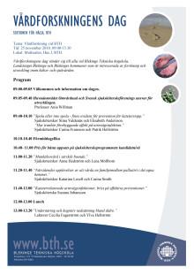Program för vårdforskningens dag 2010 på BTH