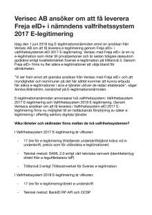 Verisec AB ansöker om att få leverera Freja eID+ i nämndens valfrihetssystem 2017 E-legitimering